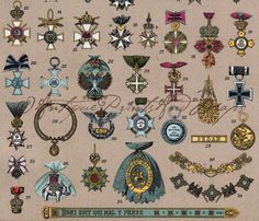 Badges Military Honors Medals Orden German Color Offset Lithograph Print 1923