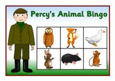 Percy's animal bingo - Bingo picture boards and word cards that can be linked to Percy the Park Keeper.  The boards feature various animals and word cards to match.