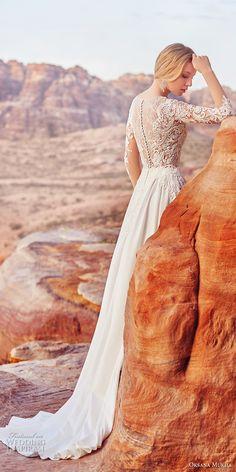 oksana mukha 2018 bridal long sleves jewel neck heavily embellished bodice elegant romantic a line wedding dress covered lace back sweep train (1) bv -- Oksana Mukha 2018 Wedding Dresses