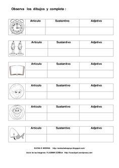Observa los dibujos y completa :            Artículo                   Sustantivo                             Adjetivo    ... Cadiz, Homeschool, Education, School, Minions Birthday Cakes, Literatura, Seventh Grade, Nouns And Adjectives, Values Education