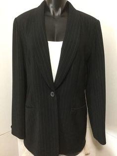 d9a06610d Jones New York Womens Sz 8 Blazer Black Pinstriped One Button Lined Suit  Jacket