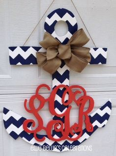 Hmmmm.... I think I could make this... And maybe instead of the big center letter, have an ampersand for a newly married couple. :) Chevron Anchor Monogram Door Hanger Sign by EllieBelliesSigns
