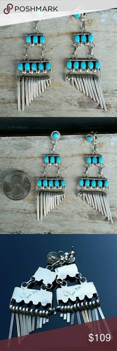 ON HOLD Zuni Turquoise erling Silver Earrings This beautiful earrings measure two and three quarter inches in length at the longest point there is a signature etched in the back it's hard for me to read a believe it says L Zuni NM. These are real turquoise and real sterling silver Zuni Jewelry Earrings
