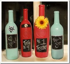 Creative Juices Decor: Wine bottles, spray paint and chalk–Oh my! #DIY-Crafts