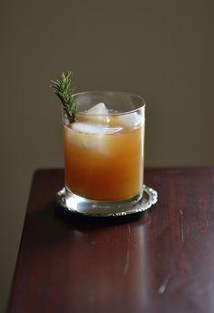 The Bourbon Bomber - Apple Cider, Bourbon, Agave, All Spice, Lemon Zest, Nutmeg, Bitters, Ginger, Rosemary Sprig.
