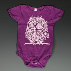 Owl Block Print/Screen Print onesie--I love her work!