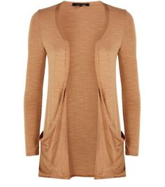 Camel Drop Pocket Boyfriend Cardigan
