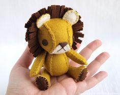 Dandy the Lion Plush Doll, Wool Felt Designer Toy #toy