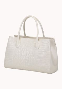 The Timeless Croc Leather Tote White
