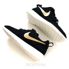 Metallic Gold Swoosh Custom Nike Roshe One Black by PrakCustoms on Etsy https://www.etsy.com/listing/234048529/metallic-gold-swoosh-custom-nike-roshe