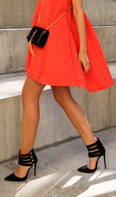 robe trapèze col V -orange -French SheIn(Sheinside) Mode Style, Style Me, Girl Style, Looks Cool, Passion For Fashion, Dress To Impress, Christian Louboutin, Womens Fashion, Fashion Trends