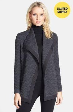 Lafayette 148 New York Woven Back Zigzag Merino Wool Cardigan (Regular & Petite) available at #Nordstrom