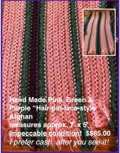 6167df424a0 Used pink and green crochet purple Afgan for sale in OWINGSMILLS - letgo