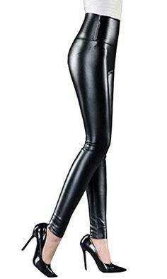 Cayuan Leggins de PU Cuero Mujeres Cintura Alta Delgados Elástico Pantalón  Sexy Imitación Cuero Pantalones 411332016220