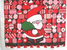 Vintage CHRISTMAS Tea Towel Santa Claus Candy at NeatoKeen on Etsy. $14