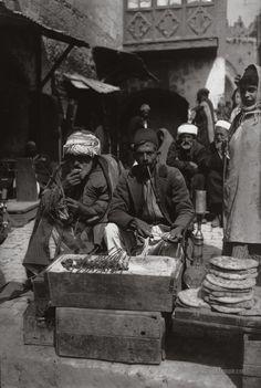 Meatball vendor. Jerusalem, Palestine 1900-1920