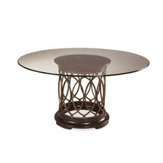 ART Furniture - Intrigue - Round Glass Dining Table In Pine Hickory Veneers Finish