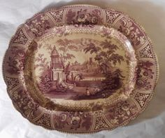 "ANTIQUE IRONSTONE TRANSFERWARE, 17.5"" PLATTER, MULBERRY, GRECIAN TEMPLE, L & B"