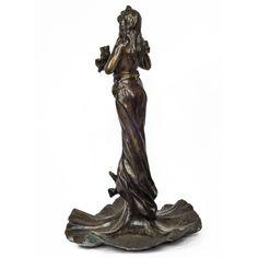 Art Nouveau Patinated Bronze Standing Figure by E. Villanis 2