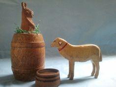 Vintage German Erzgebirge Hand Carved Wooden Figures 2 Large Sheep