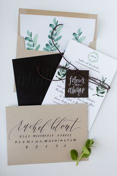 So I had the honor of creating some Save the Date's for a beautiful bride  earlier this year. You can see them here and also their feature on Oh So  Beautiful Paper! I also got to design and calligraphy their wedding  invitations which was so fun.Danielle was looking for something rustic  that fit her outdoor wedding. We went with some watercolored leafy accents  and fun calligraphy. I love how these turned out for her and can officially  congratulate her on her wedding now!