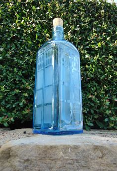 Tardis- Hand Etched Bottle from ConversationGlass