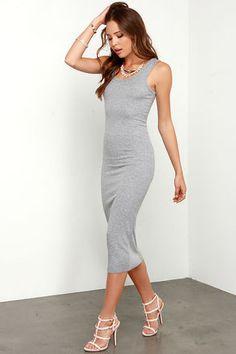 Heather Grey Dress - Midi Dress - $32.00