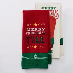 """Merry Christmas Y'all"" Kitchen Towel Set- 2 Piece- 16.5"" x 26"" St. Nicholas Square http://www.amazon.com/dp/B019N28LOM/ref=cm_sw_r_pi_dp_NpUdxb1FJDZEZ"