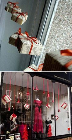 floating presents in the window. – 26 Genius Ideas to Decorate Your Christmas Home with Hanging Items floating presents in the window. – 26 Genius Ideas to Decorate Your Christmas Home with Hanging Items Office Christmas Decorations, Christmas Window Display, Christmas Store, Christmas Wreaths, Christmas Crafts, Christmas Ornaments, Holiday Decor, Christmas Windows, Christmas Vacation