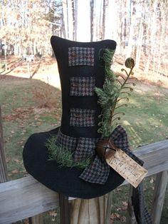 Folk Art Primitive Winter Season Christmas Snowman Hat Table Top Wool Decoration | eBay