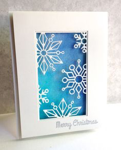 I'm in Haven: Simon Snowflake Block. She water colored the background w/ 2 shades of blue, die cut the block from very thick cardstock to make sure the snowflakes would hold their own, popped up the top panel. Sentiment from Holiday Hellos stamped in versamark & silver embossed. 9/17/15