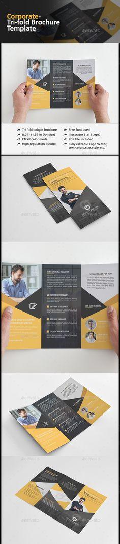 Corporate Tri-fold Brochure-Multipurpose Template #printdesign #design Download…