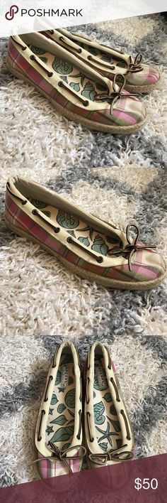 Sherry ballet style shoes Worn twice. Cute plaid Sherry's. Pink, white, green. Sperry Top-Sider Shoes Flats & Loafers