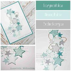 """… heute habe ich mich gefragt, ob mein Liebling """"Gorgeous Grunge"""" nicht auch auf einer Weihnachtskarte schick aussehen würde. Und so ist meine heutige Weihnachtsinspiration für Euch in Lagunen- und Himmelsblau kombiniert mit Schiefergrau entstanden. Die Sterne habe ich klein mit der Itty Bitty Sternen-Stanze ausgestanzt und die größeren mit dem kleinsten Stern aus dem Set Framelits-Formen Sterne. Für die größeren Sterne habe vor dem Ausstanzen ein Muster mit einem Stempel aus dem Set…"""