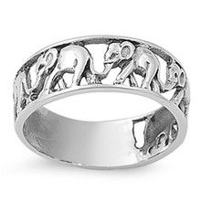 Elephant Ring 925 Sterling Silver Zoo Animal Elephant Jewelry Safari New