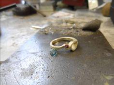 Melting gold to handmake blue diamond ring