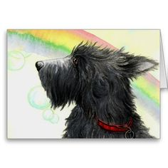 Shop Scottie rainbow and bubbles greeting card created by TheWhippetyWood. Where The Rainbow Ends, Design Your Own Poster, Personalized Wall Art, Rainbow Bridge, Westies, Funny Cute, Puppy Love, Poster Prints, Posters