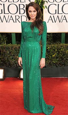 Red Carpet Style: Celebs in Elegant Emerald Dresses: Angelina Jolie