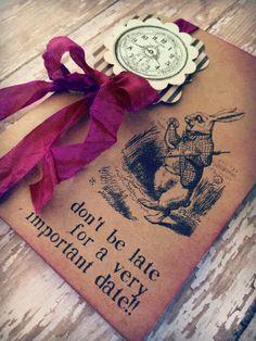 68d1319836d Alice in Wonderland invitations   Mad hatter   bridal shower   birthday