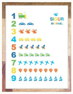 Alphabet & Numbers Print / Posters 12 x 16 or 11 by CloudSweptKids