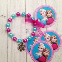 8 - FROZEN Anna & Elsa Bracelet Birthday Party Favor or Slumber Party Favor…