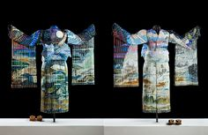 Winter Twilight is the 2nd a series of 4 freestanding life-size kimonos representing the four seasons during different times of day. Her color pallet represents the stark and brilliant changing skyscape of twilight from sunset to the edge of night as well as a snowy frosty wintertime landscape. The kimono is made of 19 separate pieces of woven glass supported by a metal mannequin.  Winter Twilight follows Autumn Sunset and is followed in the series by Spring Dawn, and Summer Zenith.