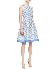 Sleeveless Abstract Floral-Print Cocktail Dress, White/Light Blue by Carmen Marc Valvo at Bergdorf Goodman.