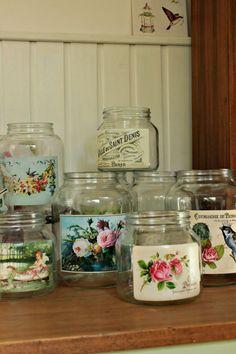Tienda La Florinda: frascos Jam Jar Crafts, Wine Bottle Crafts, Bottle Art, Bottles And Jars, Glass Jars, Shabby Chic Kitchen Accessories, Decor Crafts, Diy And Crafts, Recycled Glass Bottles