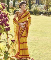 Mango Yellow Color Wrinkle Chiffon Casual Party Sarees : Shlok Collection YF-32411