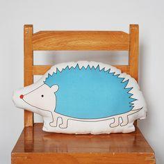 Hedgehog Pillow Blue blue, textiles, kids