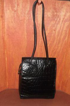 Vintage Furla Black Leather Croc Embossed Shopper Tote Bag #Furla #TotesShoppers
