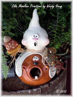 "New for 2012 ""Boo"" ghost pumpkin gourd birdhouse."