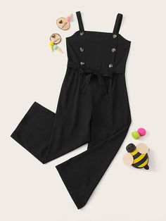 To find out about the Girls Double Button Belted Tank Jumpsuit at SHEIN, part of our latest Girls Jumpsuits ready to shop online today! Kids Winter Fashion, Summer Fashion For Teens, Fall Fashion Outfits, Girl Outfits, Stylish Dresses For Girls, Girls Dresses, Pretty Outfits, Cute Outfits, Mode Rockabilly