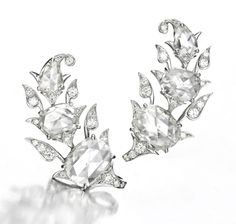 A Pair of One-of-a-Kind Rose-Cut Diamond 'Foliate' Ear Clips, by Bhagat. Available Exclusively at FD Gallery. Www.fd-inspired.com